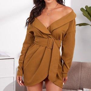 CAmel off shoulder wide belt mini dress